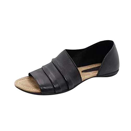 AIni Sandalias para Mujer Verano 2019 Planas Zapatos Bohemias Romanas Zapatillas Retro Sandalias De TacóN Bajo De Corte Bajo Zapatos De Viaje De Playa para Interiores Al Aire Libre Zapatillas 35-43