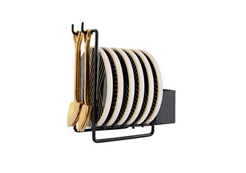 Design Untersetzer-Set aus Keramik mit 6 x Untersetzer, 6 x Teelöffel & Halterung - Hochwertige Stein-Untersetzer für Gläser, Tassen & Becher, ideal als Schutz vor Wasserflecken oder als Tischdeko