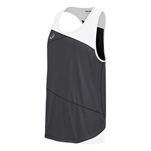 ASICS Men's Gunlap Singlet, Steel Grey/White, Large