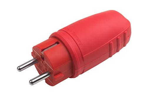 Meister Schutzkontakt-Stecker - Gummi/Kunststoff - rot - 250 V - 16 A - Maximaler Kabelquerschnitt 2,5 mm² - IP44 Außenbereich - Zentrale Einführung / Schuko-Stecker mit Knickschutz / 7421470