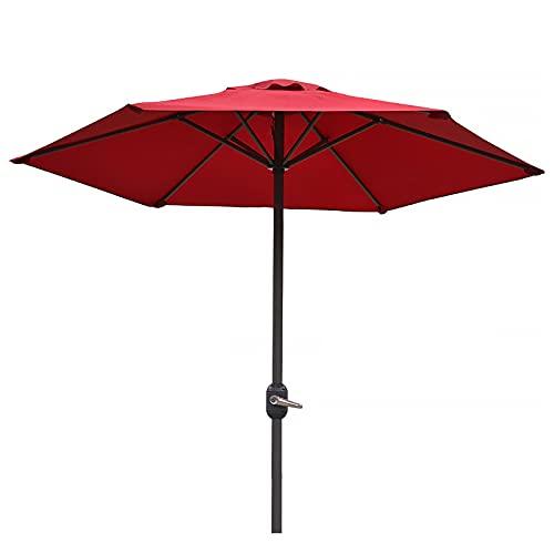 ZLI Paraguas de Jardín Sombrilla de Mesa de Mercado al Aire Libre 2m - Jardín/Terraza/Junto a la Piscina/Patio Trasero, Sombrillas Redondas de Pie con Manivela, Sombrilla de 6.5 Pies (Color : Red)