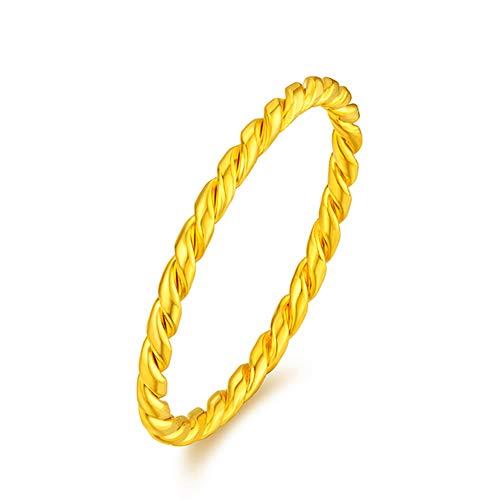 Alianza De Boda De Oro Amarillo Sólido De 24 Quilates, Anillo De Oro Genuino De Alto Pulido para Hombres Y Mujeres