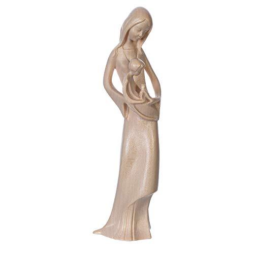 Holyart Virgen con niño y Paloma de Madera Natural patinada de la Val Gardena, 16 cm (6.3 Inc.)