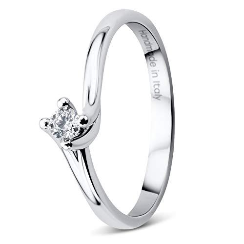 Orovi - Anello da donna in oro bianco (750) 18 kt con trio di diamanti da 0,08 kt realizzato a mano in Italia e Oro bianco, 50 (15.9), cod. OR9104R50