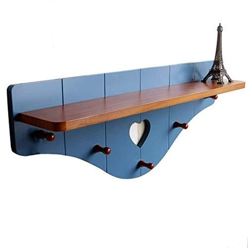 PULLEY Appendiabiti da parete, appendiabiti da parete, con 5 ganci in legno stile country (blu)