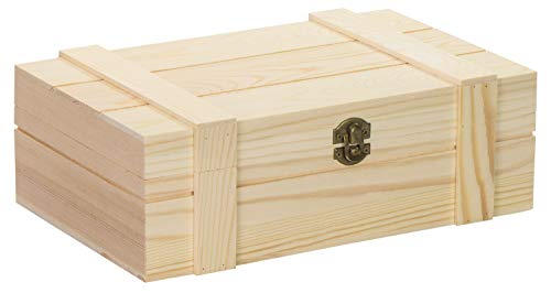 LAUBLUST Holztruhe mit Deckel - ca. 29x18x10cm, Natur, FSC® - Aufbewahrungskiste | Geschenk-Verpackung | Erinnerungsbox