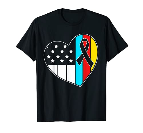 Apoyo al autismo Niños Bandera Americana Conciencia sobre autismo Camiseta