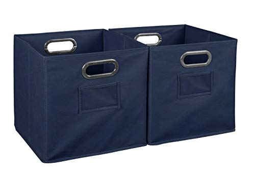 Niche Cheer Home Foldable Fabric Bins Collapsible Cloth Cube Storage Basket Set Of 2 Navy Blue