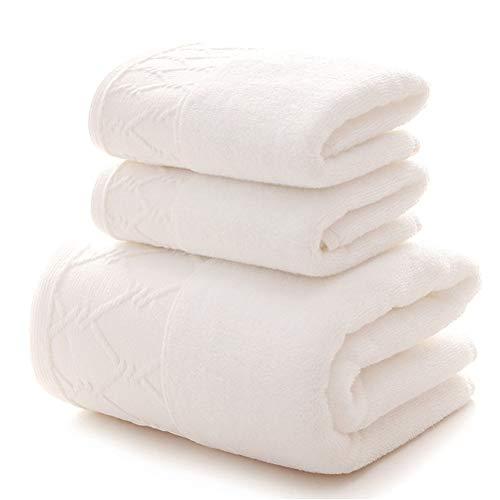 ZHUSHI-MJ Toalla 3pcs Set 1pcs Toalla De Baño Grande para Adultos / 2pcs Toallas Faciales 100% Algodón Grueso Suave Agua De Secado Rápido (Color : White, Size : 1 Pcs 70x140)