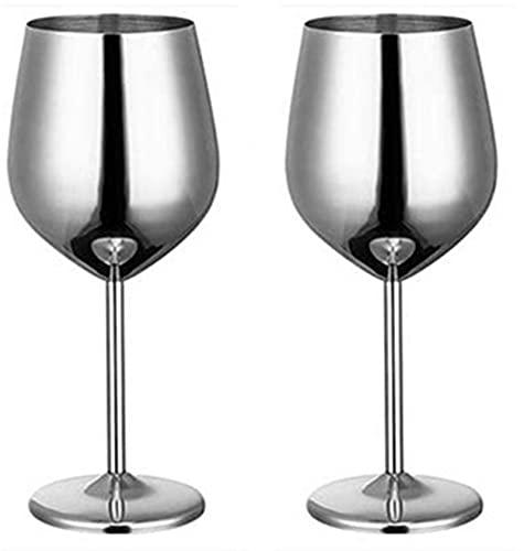 Copas de vino 304 Cubiletas de vino tinto de acero inoxidable, 500 ml Jugo de grado alimenticio Drink Coblet Spatters Party Barware Herramientas de cocina (Color : Silver 2 pcs)