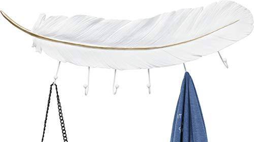 Kare Design Wandgarderobe Feather, edle, moderne Garderobe als geschwungene Feder, Wand Accessoire als Garderobe in der Farbe Weiß Gold, 6 Haken, (H/B/T) 78x22,5x4cm