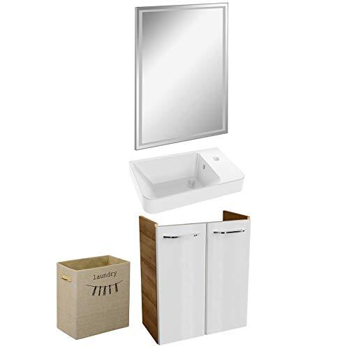 FACKELMANN bruine smalle badkamermeubelset 4-dlg. Milano gastentoilet met LED-badkamerspiegel 55 cm & opvouwbare wasmand linnenlook