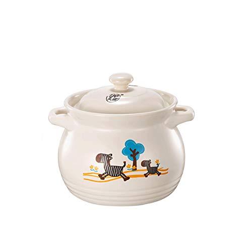 Faitout En bonne santé Ustensiles de cuisine Pot en terre cuite de 4,6 l, avec couvercle, résistance aux températures élevées, adaptée au poêle à la céramique électrique, poêle à flamme ouverte.