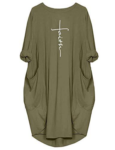 Peceony Faith Damen Tunika-Kleid Langarm Casual Lose Party Kurz Midi Kleider mit Taschen, Grün, S