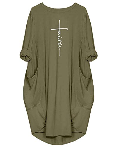 Rfecccy Women's Faith Oversize Baggy T Shirt Causal Loose Party Short Midi Dresses with Pockets Green