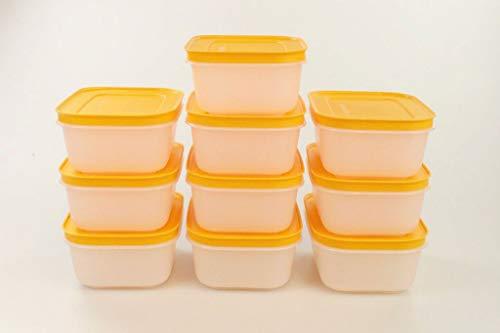 TUPPERWARE Gefrier-Behälter 450 ml weiß-orange Eis-Kristall (10) Eiskristall