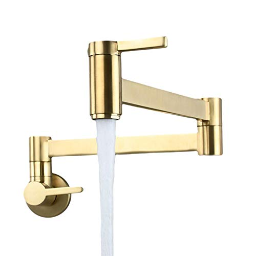 CALIDAKA Pot Filler Faucet Wall Mount,Kitchen Folding Faucet with Brass Double Joint Swing Arms and 2 Handles,Easy to Install with Aerator,Quiet and No-Splash