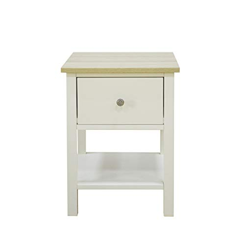 woodluv 1 Drawer Bedside Table MDF Nightstand Storage Unit - Buttermilk