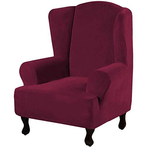 JHLD Súper Suave Terciopelo Funda De Sillón Orejero, 1Piezas Funda De Sillón Orejero Funda Sillón Antideslizante Lavables para Sala Protector De Muebles-Vino Rojo-sillón orejero
