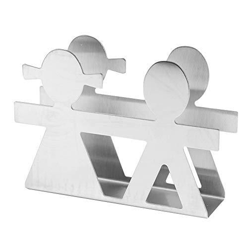 Servilletero dispensador de servilletas, soporte de metal plateado para cócteles de acero inoxidable moderno soporte de servilleta rack decoración de mesa estilo amante para tarjeta IC