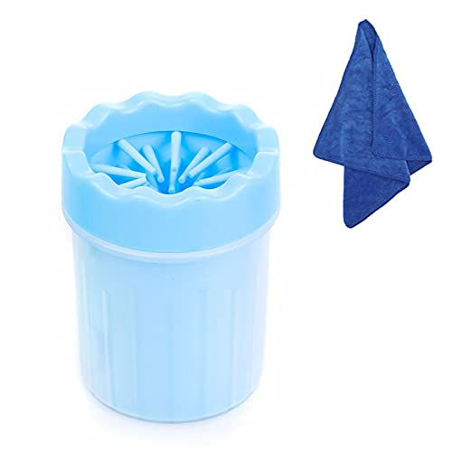 WELLXUNK Limpiador Portátil para Patas de Perro,Limpiador Patas Perro Mascota,Taza de Limpieza para Mascotas con Toalla,para Limpiar Patas de Perro Gato (Azul S)