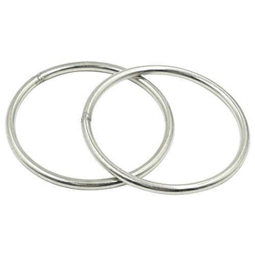 Rannb Multi-Purpose O Ring for Hardware Bags Ring Hand DIY Accessories 6mm Thick 100mm Outer Dia - Pack of 2