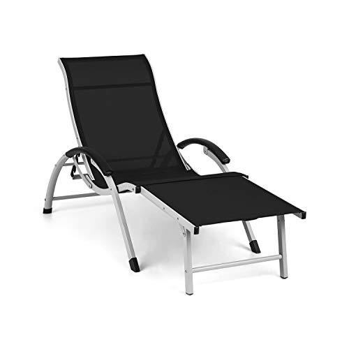 blumfeldt Sunnyvale Liegestuhl Sonnenliege Gartenliege Lounger, verstellbare Lehne in 4 Stufen, klappbares Fußteil, Liegefläche 174 x 51 cm, wasserabweisendes Material, PVC/Polyester, schwarz
