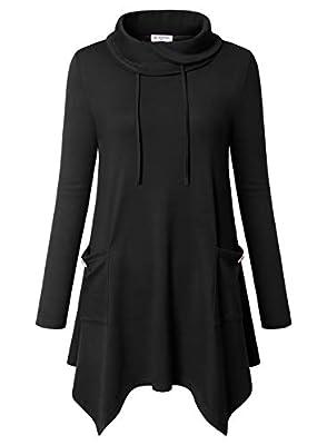 Bulotus Women's Long Sleeve Cowl Neck Asymmetrical Hem Tunic Tops Pockets