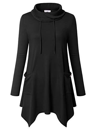 Bulotus Damen Langarm-Tunika, asymmetrischer Saum, mit Taschen, Pullover