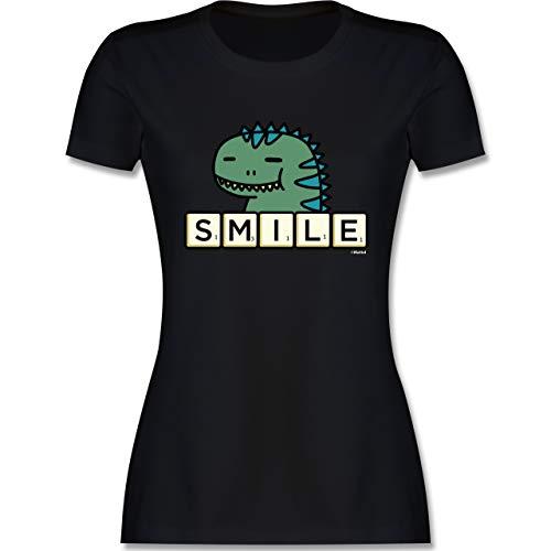 Scrabble Damen - Smile - XXL - Schwarz - Tshirt Dino Damen - L191 - Tailliertes Tshirt für Damen und Frauen T-Shirt