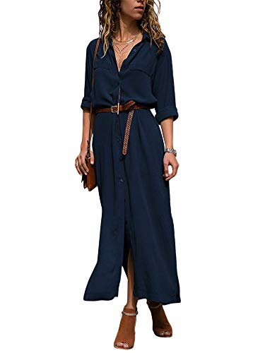Damen Langarm V-Ausschnitt Elegant Lang Blusenkleid Hemdkleid Shirt Kleid Oberteil Kleid Maxikleid Blau DE 42