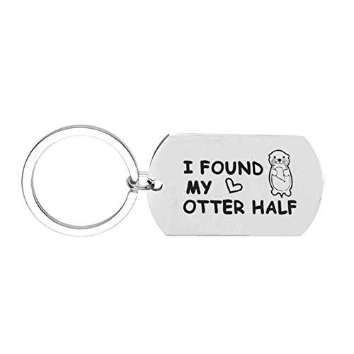 Bishilin Schlüsselanhänger Damen Herren Auto Lange Tag mit Gravur I Found My Otter Half Rund Schlüsselring Edelstahl Frauen Männer Schlüsselanhänger Freundschaft