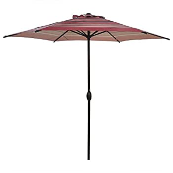 Abba Patio 9ft Striped Patio Umbrella Outdoor Umbrella Patio Market Table Umbrella with Push Button Tilt and Crank for Garden Lawn Deck Backyard & Pool Red Stripe