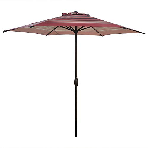 Abba Patio 9ft Striped Patio Umbrella Outdoor Umbrella Patio Market Table Umbrella with Push Button Tilt and Crank for Garden, Lawn, Deck, Backyard & Pool, Red Stripe