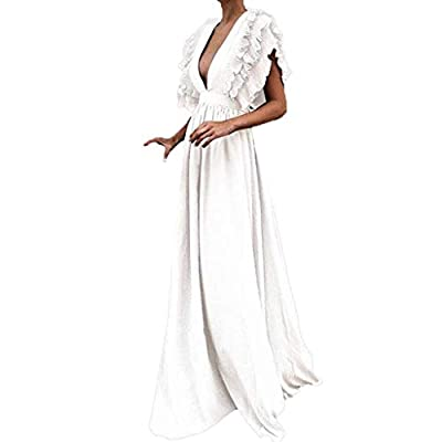 Sufeng Women Plus Size Solid Vintage Fly Sleeve Back Hollow V-Neck Long Party Dress