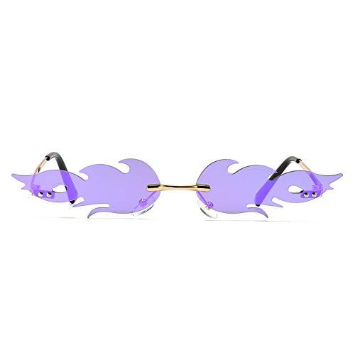 Gafas de sol sin montura con llamas para mujeres y hombres, de moda, protección UV400, pequeñas gafas de sol, (Purple Lens Gold Frame), Medium