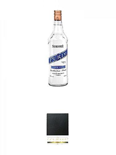 Nisskosher Vodka PURIM Kartoffel Vodka 50% 0,7 Liter + Schiefer Glasuntersetzer eckig ca. 9,5 cm Durchmesser