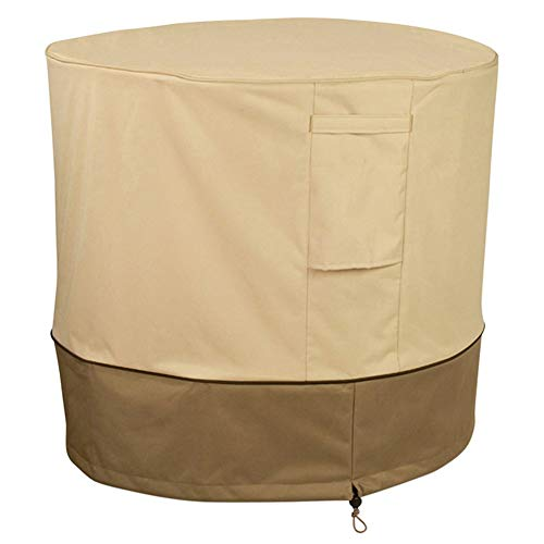 AQzxdc Cubierta del acondicionador de Aire, Resistente al Agua Protección contra Todo Clima Veranda Universal Cubierta de la Unidad Central de Invierno con ventilación y manija,Beige,Round