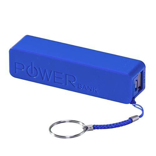 PureDay Powerbank, 2200mAh Easy - mit Schlüsselband - aus Kunststoff - Blau