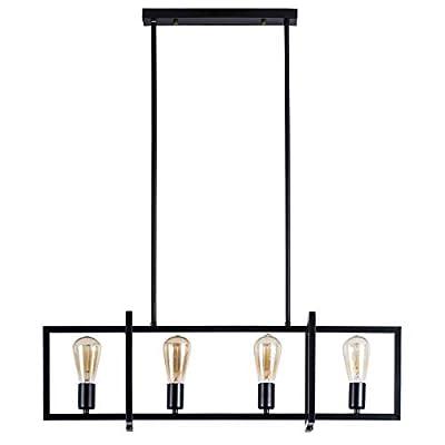 4-Light Kitchen Island Pendant with Matte Black Plated Finish, Geometric Modern Industrial Chandelier Lighting for Kitchen Island, Restaurants, Dining Room, Hotels, Foyer, Shops