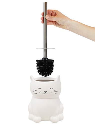 Isaac Jacobs White Ceramic Cat Toilet Bowl Brush Holder with Chrome Metal Handle (Unassembled) - Bathroom Accessory & Cleaning Storage (Cat)