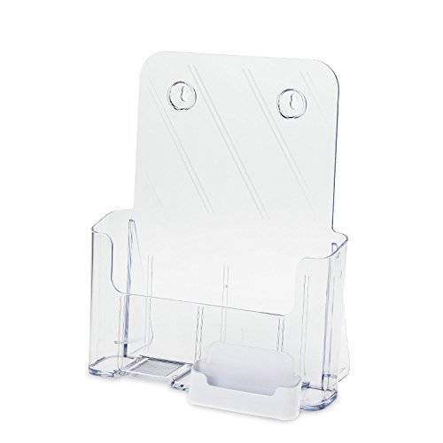Source One Large Brochure Holder 8.5 x 11 Inches with Business Card Holder (1 Pack, White)