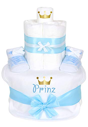 Trend Mama Windeltorte Prinz -hochwertig verpackt im Geschenkkarton- hellblau Junge Babysocken Sneaker Style + bedrucktes Lätzchen - Prinz mit goldener Krone