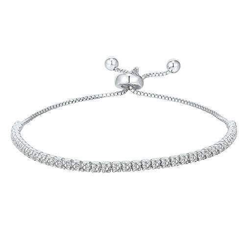 PAVOI 14K Gold Plated Cubic Zirconia Classic Tennis Bracelet for Women in White Gold