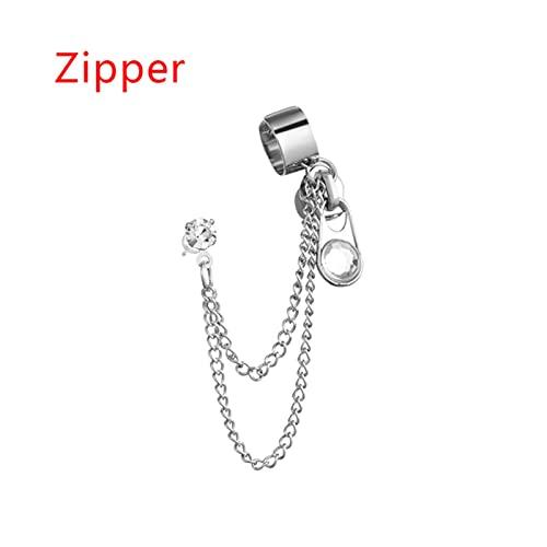 CHENLING 1 pendiente gótico vintage cadena larga cruz cremallera pendientes gota para hombres mujeres fiesta moda punk joyería regalo decoración oído