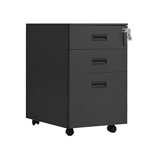 soges Rollcontainer Bürocontainer abschließbar, Mobilen Büroschrank Aktenschrank mit 3 Schubladen, Perfekt Schreibtisch Container, Hängeregistratur - unten Schreibtisch für Zuhause,HCCBN002-BK