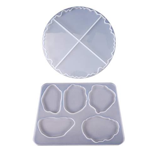 Eliky DIY-Welle Coaster Crystal Epoxy Mold Handbuch Spiegel UV Resin Rechteck Tischdekoration