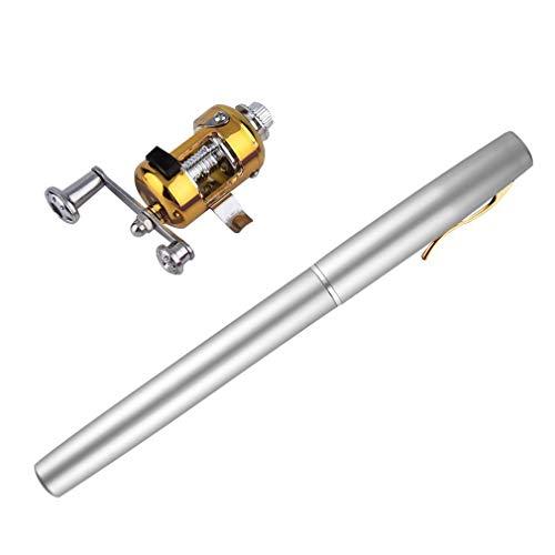HermosaUKnight Tragbare Mini-Aluminium-Legierung Taschen-Feder-Form Fisch Angelrute Pole Mit Reel Silber