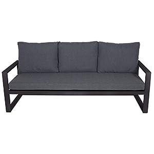 lifestyle4living Gartenbank 3-Sitzer aus Aluminium in anthrazit inkl. Kissen in grau. Die Loungebank ist wetterfest…