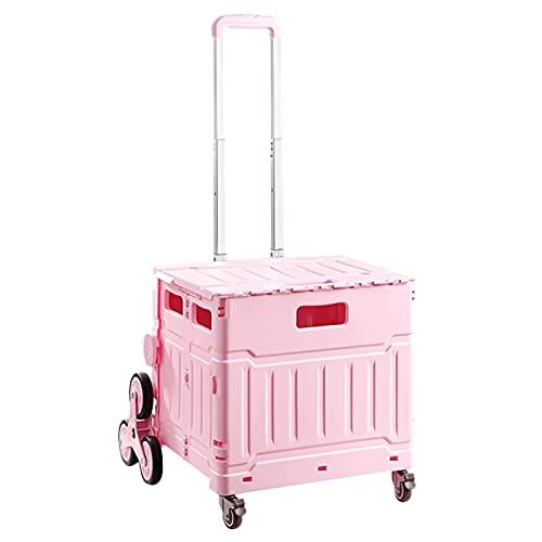 Carretilla con Caja Plegable Carro De La Utilidad Plegable, Carrito De Compras Portátiles De 8 Ruedas con Mango Telescópico, Maleta Plegable para Ahorrar Espacio, 75L (Color : Pink)